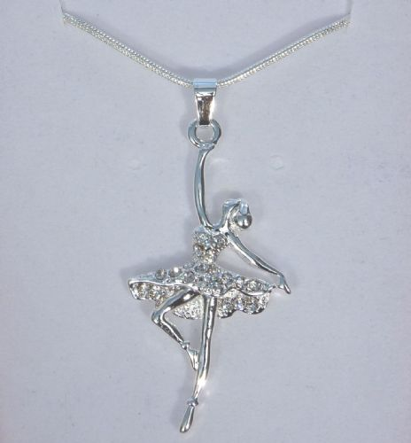 "Ballerina Dancer Pendant/Necklace with Crystals on Dress 18"" chain Gift Boxed"